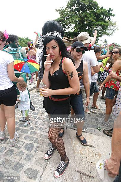 Revellers and members of Enquanto Isso na Sala de Justiça dance during the parade in February 19 2011 in Recife Brazil Carnival is the biggest and...