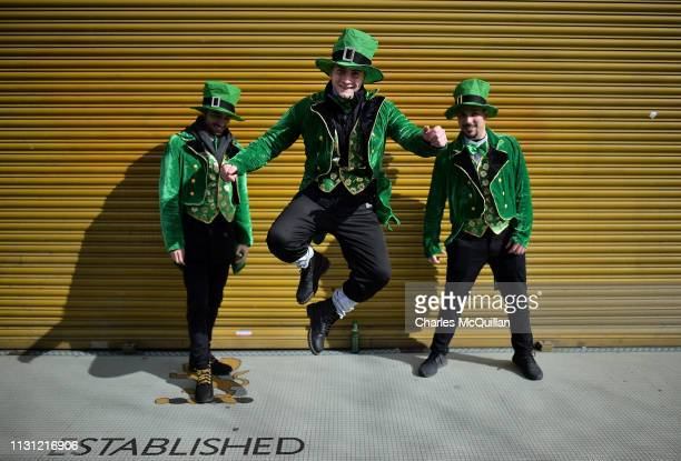 Revellers attend the Saint Patrick's Day parade on March 17 2019 in Dublin Ireland Saint Patrick the patron saint of Ireland is celebrated around the...