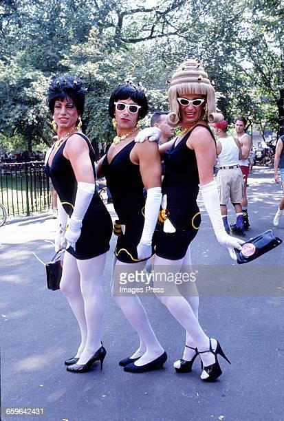 Revellers celebrate Wigstock! 1993 in Tompkins Square Park circa 1993 in New York City.