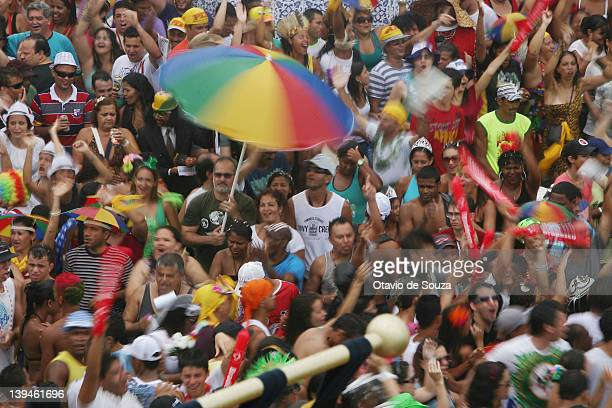 Revellers celebrates during the Giant Puppets parade in Olinda City on February 18 2011 in Recife Brazil Carnival is the biggest and most popular...