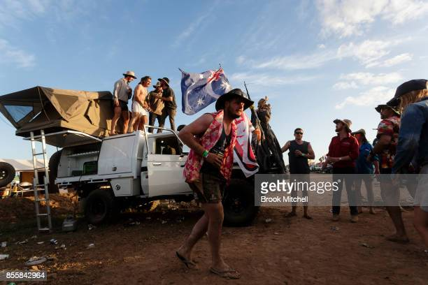 Revellers cut loose on the final evening of the 2017 Deni Ute Muster on September 30 2017 in Deniliquin Australia The annual Deniliquin Ute Muster is...