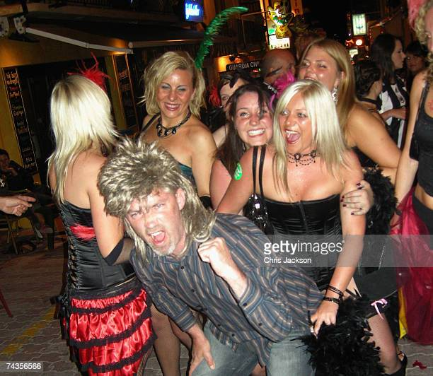 Revellers enjoy a hen night in a bar in San Antonio on May 29 2007 in Ibiza Spain Ibiza remains one of the world's top holiday destinations for young...