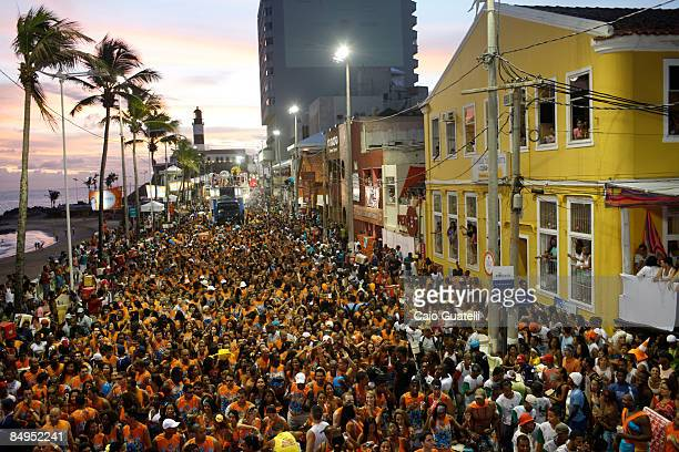 Revellers follow Timbalada's music truck at the BarraOndina track of Salvador's Carnival in February 20 2009 in Salvador Brazil