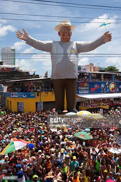 Revellers gather around a great statue of Eneas Galo da Madugrada's founder during the parade on February 21 2009 in central Recife Brazil Certified...