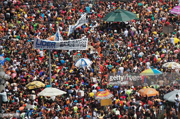 Revellers gather during Carnival celebrations on February 6 2016 in Recife Pernambuco state Brazil Officials say as many as 100000 people may have...