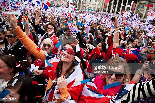 Revellers gather in Trafalgar Square in Central London to celebrate the Royal Wedding of Prince William and Kate Middleton on 29th April 2011 The...