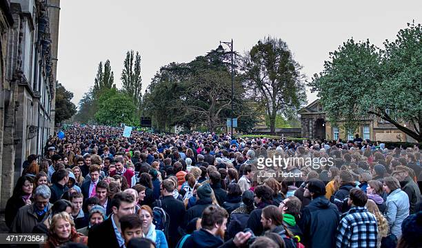 Revellers gather near Magdalen Bridge as they celebrate May Morning on May 1 2015 in Oxford England The traditional celebration of the coming of...