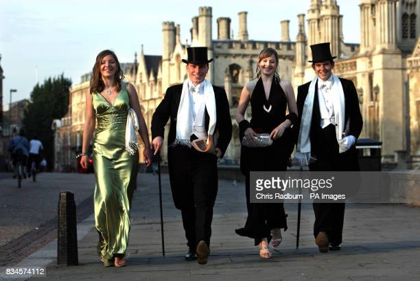 Revellers Helen Pooley Monty d'Inverno Sarah Scott and Aaron Outhwaite make their way home after celebrating the end of the university term by going...