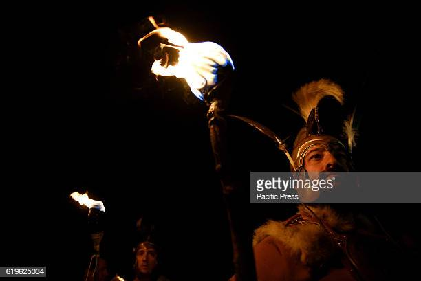 NUMANTIA GARRAY SORIA SPAIN Revellers hold torches as they parade near the ancient Celtiberian settlement of Numantia famous for its role in the...