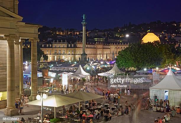 Revellers in Schlossplatz at night