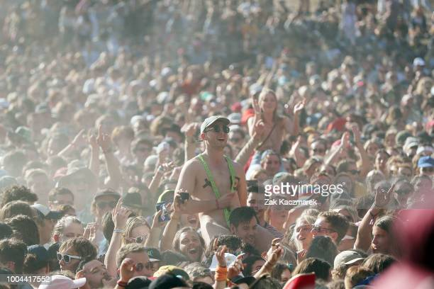 Revellers in the crowd watch SKEGGS perform during Splendour in the Grass 2018 on July 22 2018 in Byron Bay Australia