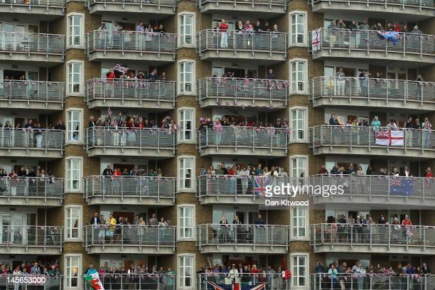 Revellers line the route during the Diamond Jubilee River Pageant on June 3 2012 in London England For only the second time in its history the UK...