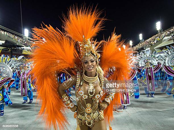 Revellers of Estacio de Sa samba school perform during the first night of the carnival parade at the Sambadrome in Rio de Janeiro on february 07...
