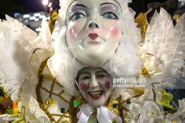 Revellers of Imperatriz samba school perform during the second night of the carnival parade at the Sambadrome in Rio de Janeiro, Brazil, on february...