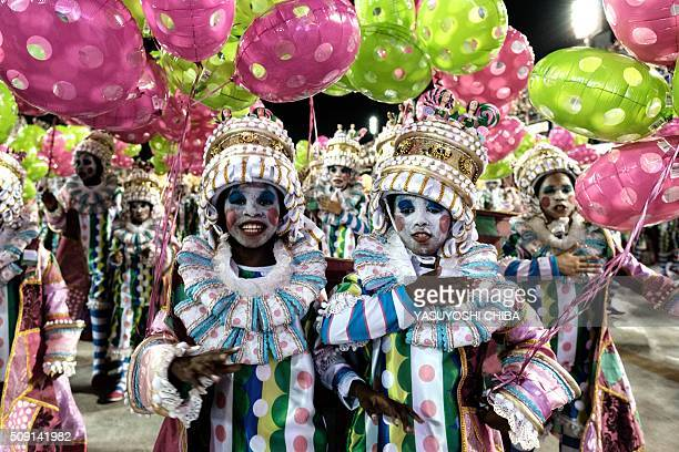 Revellers of Mangueira samba school perform during the second night of the carnival parade at Sambadrome in Rio de Janeiro Brazil on February 9 2016...