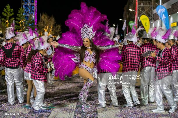 Revellers of samba school Os Cariocas perform during the Carnival Parade in Funchal with the theme 'Madeira 6 centuries of joy' on February 10 2018...