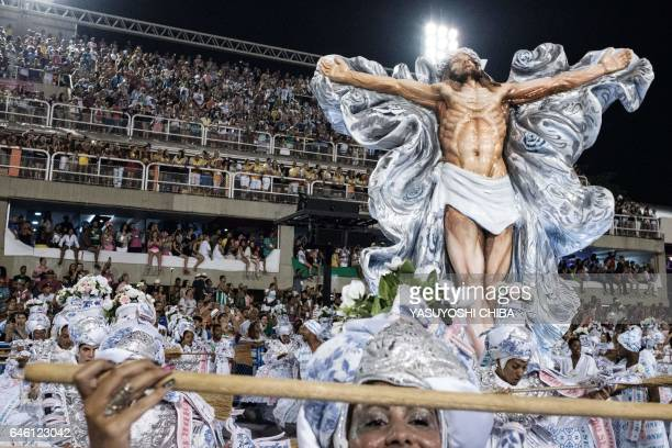 Revellers of the Mangueira samba school perform on the second night of Rio's Carnival at the Sambadrome in Rio de Janeiro Brazil early on February 28...