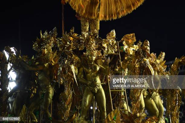Revellers of the Portela samba school perform on the second night of Rio's Carnival at the Sambadrome in Rio de Janeiro Brazil early on February 28...