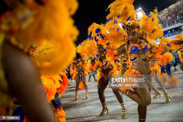 Revellers of the Unidos da Tijuca samba school perform during the second night of Rio's Carnival at the Sambadrome in Rio de Janeiro Brazil on...