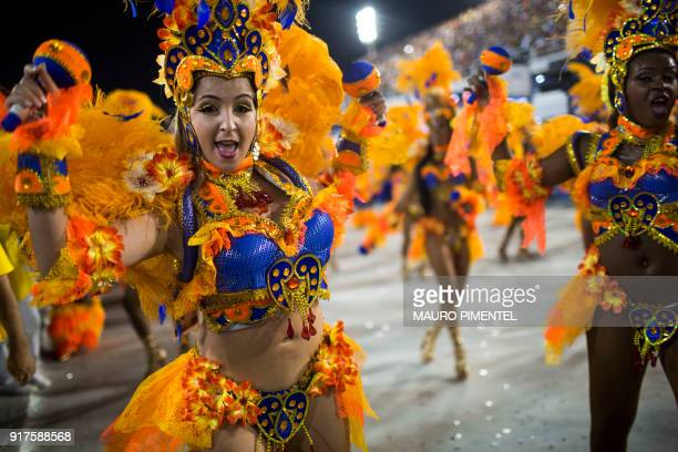 Revellers of the Unidos da Tijuca samba school perform during the second night of Rio's Carnival at the Sambadrome in Rio de Janeiro Brazil on...