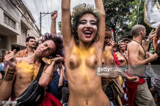 Revellers on the street of Sao Paulo Brazil on 28 January 2018 The carnival is marked by a lot of fun but also has space to talk about more serious...