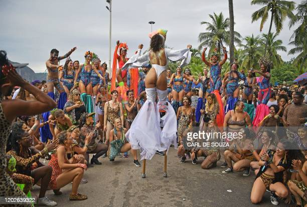 Revellers participate in the Amigos da Onca street party in Rio de Janeiro Brazil on February 22 2020 ahead of Rio's annual world famous carnival...