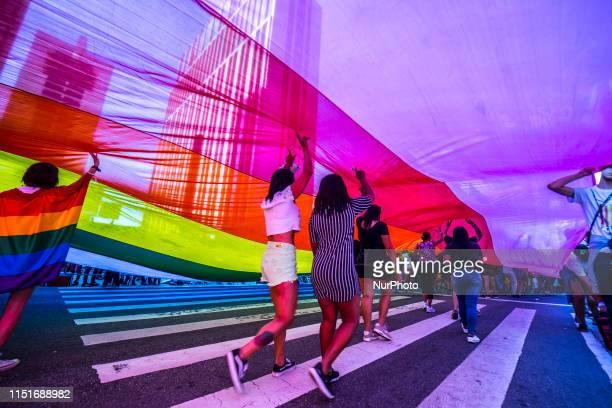 Revellers participate in the Gay Pride parade along Paulista Avenue in Sao Paulo Brazil June 23 2019