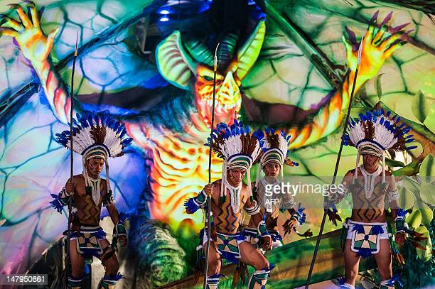 Revellers perform in the annual folklore festival known as Boi Bumba at Bumbodromo in Parintins an island on the Amazon river about 370km east of...