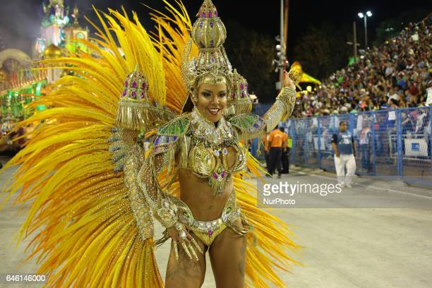 Revellers perform on the second night of Rio's Carnival at the Sambadrome in Rio de Janeiro Brazil early on February 28 2017