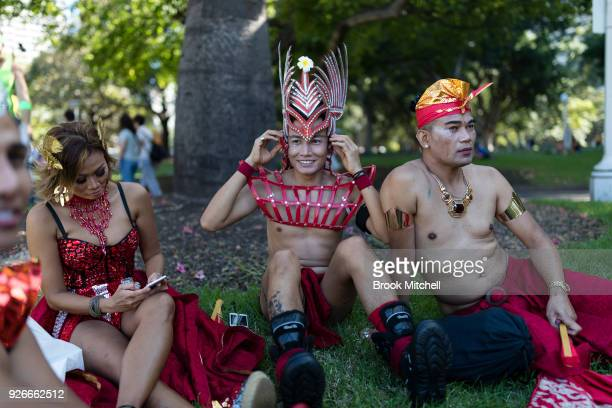 Revellers prepare for the start of the 2018 Sydney Gay Lesbian Mardi Gras Parade on March 3 2018 in Sydney Australia The Sydney Mardi Gras parade...