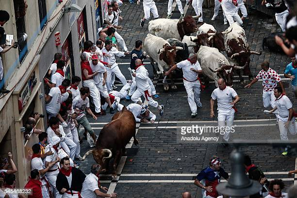 Revellers run with fighting bulls during the San Fermin Running of the Bulls festival on July 8, 2016 in Pamplona, Spain. The San Fermin Festival is...