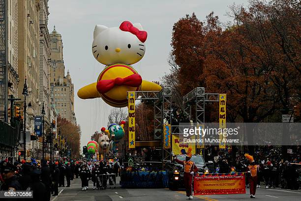 Revellers take part during the 90th Macy's Annual Thanksgiving Day Parade on November 24 2016 in New York City Security was tight in New York City on...