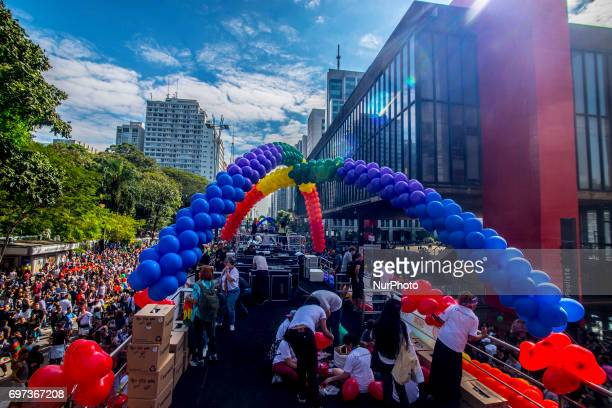 Revellers take part in the 21st SP LGBT pride parade at Paulista Avenue inSão Paulo Brazil on Juner 18 2017