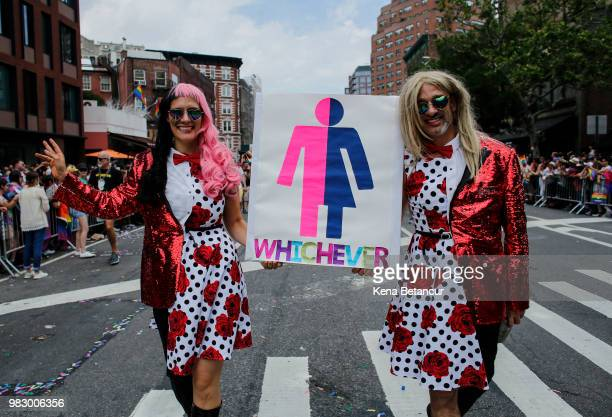 Revellers take part in the annual Pride Parade on June 24 2018 in New York City The first gay pride parade in the US was held in Central Park on June...