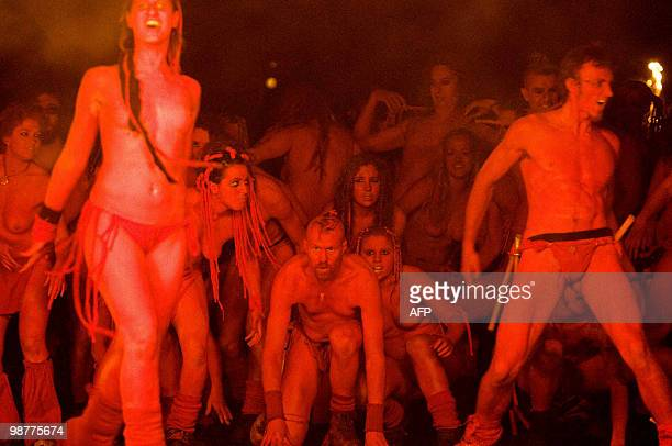 Revellers take part in the Beltane Fire Festival in Edinburgh on April 30 2010 The event which celebrates an ancient Celtic festival is a...