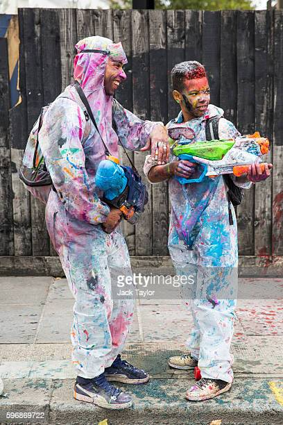 Revellers take part in the J'Ouvert celebrations on Family Day of the Notting Hill Carnival on August 28 2016 in London England The Notting Hill...
