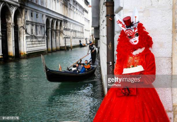 Revellers wearing traditional carnival costume pose in Venice Italy during Venice's Carnival on February 5 2018