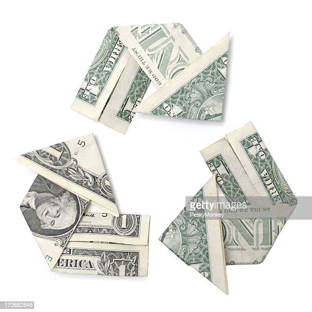 Revenue, Reinvest, Return Dollar Bills Folded Recycle White Background