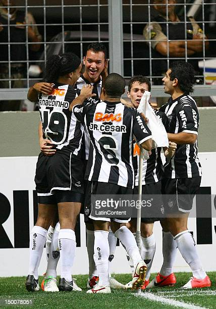 Rever, of Atletico MG, celebrates a goal during a match between Atletico MG and Coritiba as part of the Brasilian Serie A Championship at...