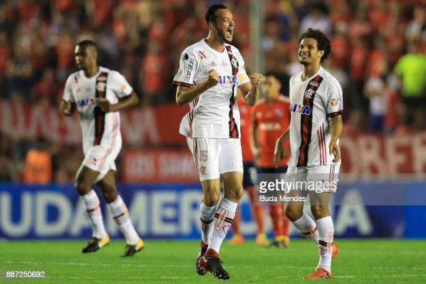 Rever of Flamengo celebrates after scoring the first goal of his team during the first leg of the Copa Sudamericana 2017 final between Independiente...