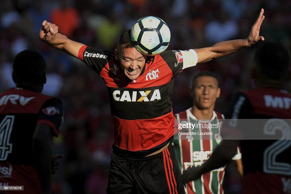 Rever of Flamengo in action during the match between Fluminense and Flamengo as part of Brasileirao Series A 2017 at Maracana Stadium on June 18, 2017 in Rio de Janeiro, Brazil.