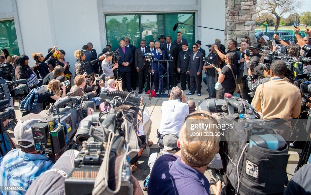 TOPSHOT - Reverand Al Sharpton speaks to the media after Stephon Clark's funeral in Sacramento, California on March 29, 2018. Stephon Clark, an unarmed African American, was shot and killed by police on March 18, 2018 at his grandmother's home. /