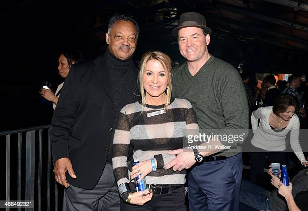 Reverand Jesse Jackson Actor David Koechner and Leigh Koechner attend the Bud Light Hotel on February 1 2014 in New York City
