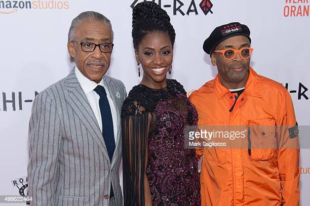 Reverend Al Sharpton Actress Teyonah Parris and Director Spike Lee attend the 'CHIRAQ' New York premiere at the Ziegfeld Theater on December 1 2015...