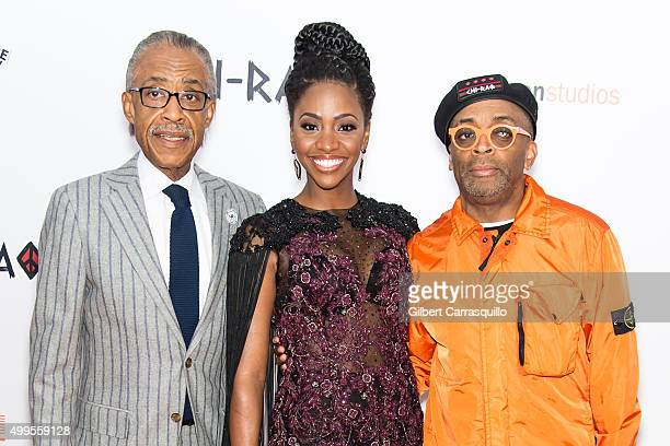 Reverend Al Sharpton Actress Teyonah Parris and Director Spike Lee attend the 'CHIRAQ' New York Premiere at Ziegfeld Theater on December 1 2015 in...