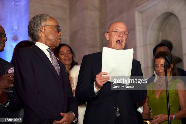 Reverend Al Sharpton Aisha McShaw and Phil Griffin attend Reverend Al Sharpton's 65th Birthday Celebration at New York Public Library on October 03...