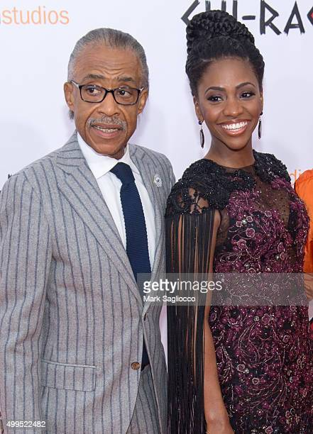 Reverend Al Sharpton and Actress Teyonah Parris attend the 'CHIRAQ' New York premiere at the Ziegfeld Theater on December 1 2015 in New York City