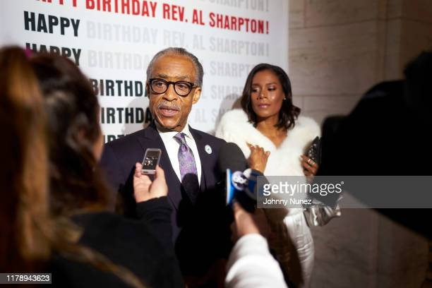 Reverend Al Sharpton and Aisha McShaw attend Reverend Al Sharpton's 65th Birthday Celebration at New York Public Library on October 03 2019 in New...