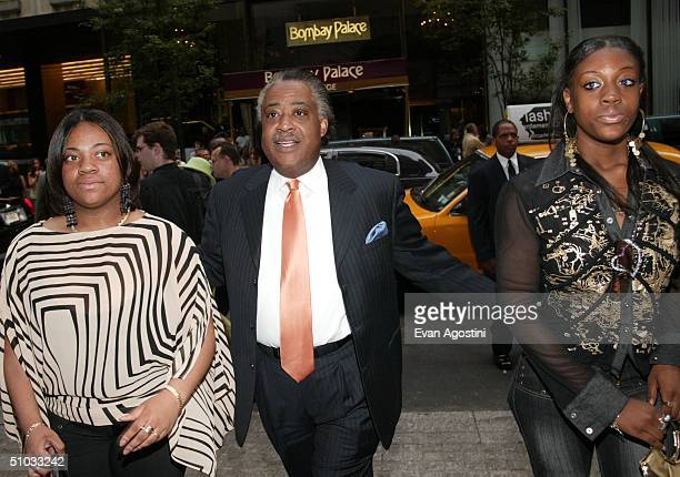 Reverend Al Sharpton and daughters Dominique and Ashley arrive at a special screening of the film Anchorman The Legend of Ron Burgundy at the Museum...