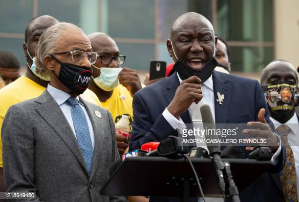 Reverend Al Sharpton and Floyd family attorney Ben Crump and members of the Floyd family hold a press conference outside the Fountain of Praise...
